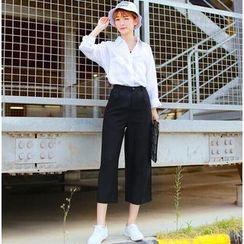 SUYISODA - Cropped Linen-blend Pants