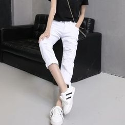 Denimot - Distressed Straight-Cut Jeans
