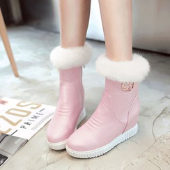 Pretty in Boots - Furry Hidden Wedge Short Boots