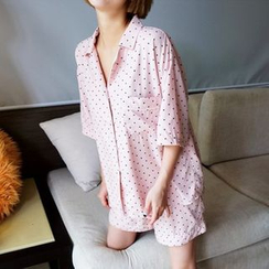 trendedge - Pajama Set: Dotted Elbow Sleeve Top + Shorts