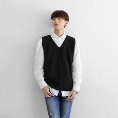 Seoul Homme - Colored V-Neck Knit Vest