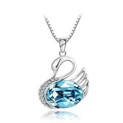 BELEC - 925 Sterling Silver Swan Pendant with Blue Swarovski Element Crystal and 45cm Necklace