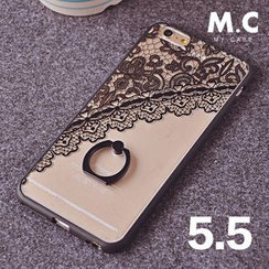 Kindtoy - Lace Print Silicone  iPhone 6/6+ Case with Mobile Ring