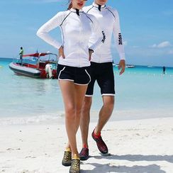 DJ Design - Couple Matching Set: Contrast Trim Rashguard + Swim Shorts