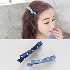 Aokuna - Polka Dot Bow Denim Hair Clip