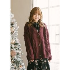GOROKE - V-Neck Buttoned Cable-Knit Cardigan