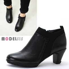 MODELSIS - Genuine Leather Platform Zip-Side Ankle Boots