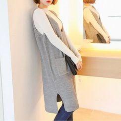 Seoul Fashion - Dual-Pocket Rib-Knit Jumper Dress