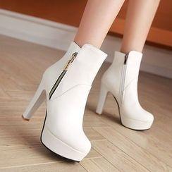 Pastel Pairs - High Heel Platform Short Boots