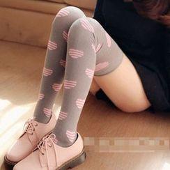 Kally Kay - Heart Print Over-The-Knee Socks