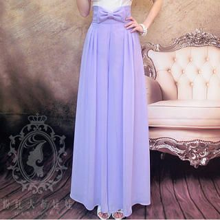Dabuwawa - Bow-Accent Wide-Leg Chiffon Pants