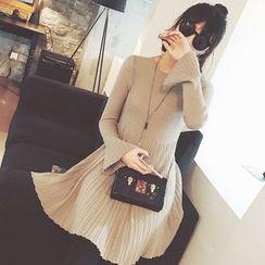 MOODGIRL - Bell-Sleeve A-Line Knit Dress