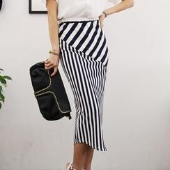 Soneed - Band-Waist Striped Long Skirt