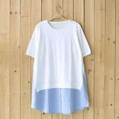 Rosadame - 條紋拼接T恤
