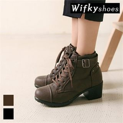 Wifky - Belted Lace-Up Ankle Boots