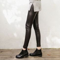 Seoul Fashion - Slit-Hem Faux-Leather Leggings Pants