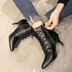 Yoflap - Stiletto Lace Up Ankle Boots