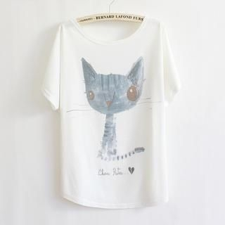 LULUS - Cat-Print Loose-Fit T-Shirt