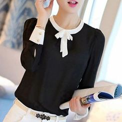 Raisin - Bow Accent Contrast Trim Long Sleeve Chiffon Blouse