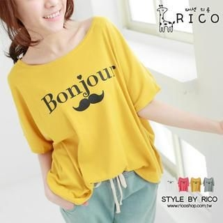 rico - Loose-Fit Moustache-Print Top