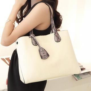 Youshine - Snake Print Strap Tote with Pouch