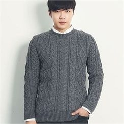 MITOSHOP - Wool Blend Cable-Knit Sweater