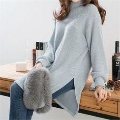 PEPER - Turtle-Neck Slit-Side Long Knit Top