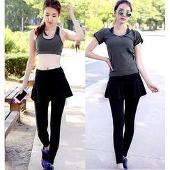 REALLION - 套裝: 長袖運動T恤 + 運動文胸 + 假兩件內搭褲運動裙