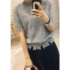 Lemite - Short-Sleeve Fray-Trim Knit Top