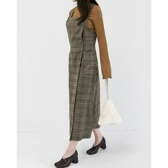 Someday, if - Dual-Pocket Plaid Long Jumper Dress