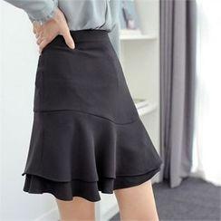 Styleberry - Layered-Hem A-Line Skirt