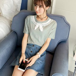 Colorful Shop - Short-Sleeve Paneled T-Shirt