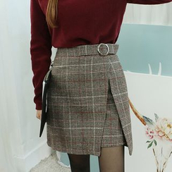 Dodostyle - Wool Blend Belted Check Skirt