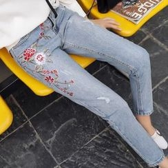 Tangi - Flower Embroidered Cropped Jeans
