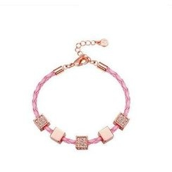 Italina - Swarovski Elements Cube Faux-Leather Bracelet