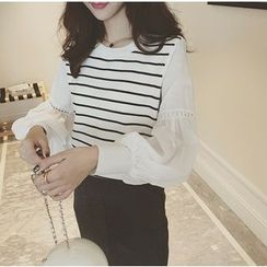 Eva Fashion - Striped Panel Long Sleeve Top