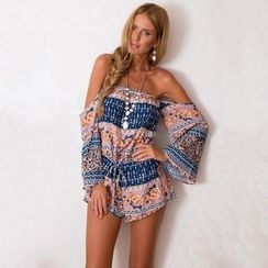 Hanni - Off-Shoulder Drawstring Printed Playsuit
