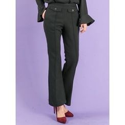 LOLOten - Button-Front Bottom-Cut Dress Pants