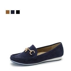 MODELSIS - Metallic-Embellish Faux-Suede Loafers
