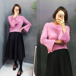 STYLEBYYAM - Round-Neck Bell-Sleeve Knit Top