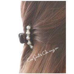 Miss21 Korea - Faux-Pearl Rhinestone Hair Clamp