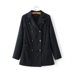 Acoustic Rain - 细条妏双排扣西装外套