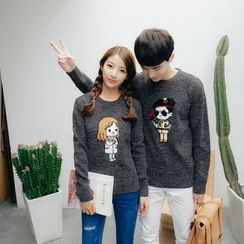 Simpair - Couple Matching Cartoon Embroidered Sweater