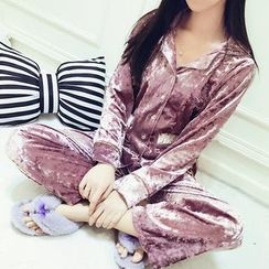 Honeydew - Pajama Set: Velvet Long Sleeve Top + Pants