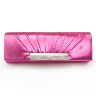Moonbeam - Rhinestone Pleated Flap Clutch