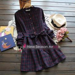 JVL - 腰系带格子衬衫裙