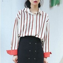 SUYISODA - Striped Long-Sleeve Shirt