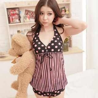 Angel Romance - Dotted Striped Halter Tankini