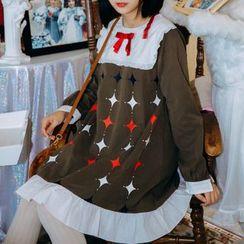 Moricode - 菱格印花荷葉邊長袖連衣裙