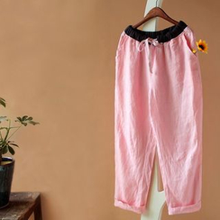 Rosadame - Drawstring Cropped Wide-Leg Pants